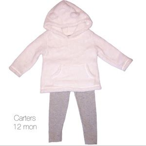 Carters White Furry Bear Hoodie Outfit 12 mon